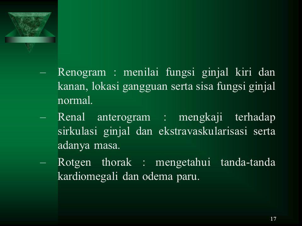 17 –Renogram : menilai fungsi ginjal kiri dan kanan, lokasi gangguan serta sisa fungsi ginjal normal. –Renal anterogram : mengkaji terhadap sirkulasi