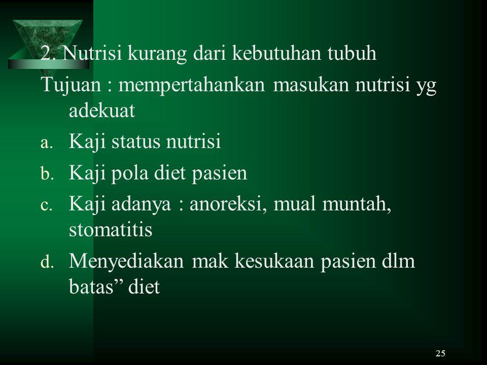 25 2. Nutrisi kurang dari kebutuhan tubuh Tujuan : mempertahankan masukan nutrisi yg adekuat a. Kaji status nutrisi b. Kaji pola diet pasien c. Kaji a