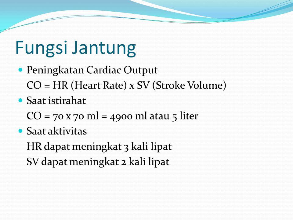 Fungsi Jantung Peningkatan Cardiac Output CO = HR (Heart Rate) x SV (Stroke Volume) Saat istirahat CO = 70 x 70 ml = 4900 ml atau 5 liter Saat aktivit
