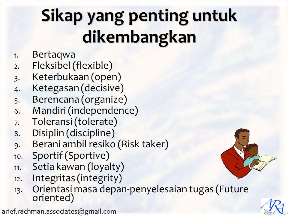 arief.rachman.associates@gmail.com Sikap yang penting untuk dikembangkan 1. Bertaqwa 2. Fleksibel (flexible) 3. Keterbukaan (open) 4. Ketegasan (decis