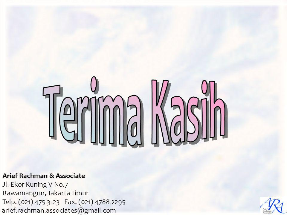 arief.rachman.associates@gmail.com Arief Rachman & Associate Jl. Ekor Kuning V No.7 Rawamangun, Jakarta Timur Telp. (021) 475 3123 Fax. (021) 4788 229