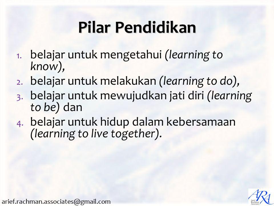 arief.rachman.associates@gmail.com Pilar Pendidikan 1. belajar untuk mengetahui (learning to know), 2. belajar untuk melakukan (learning to do), 3. be