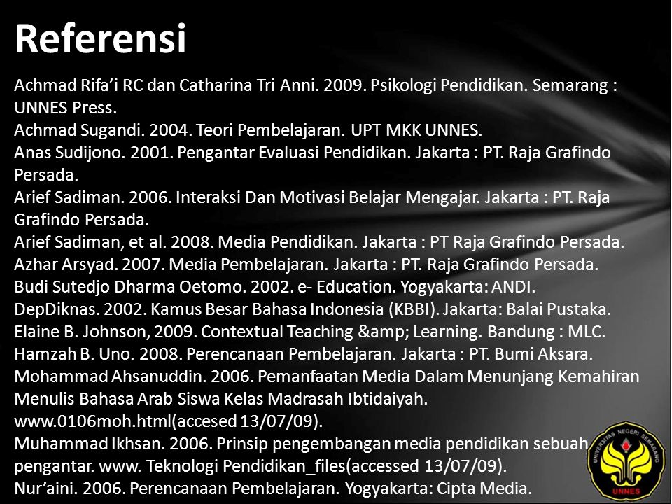 Referensi Achmad Rifa'i RC dan Catharina Tri Anni.