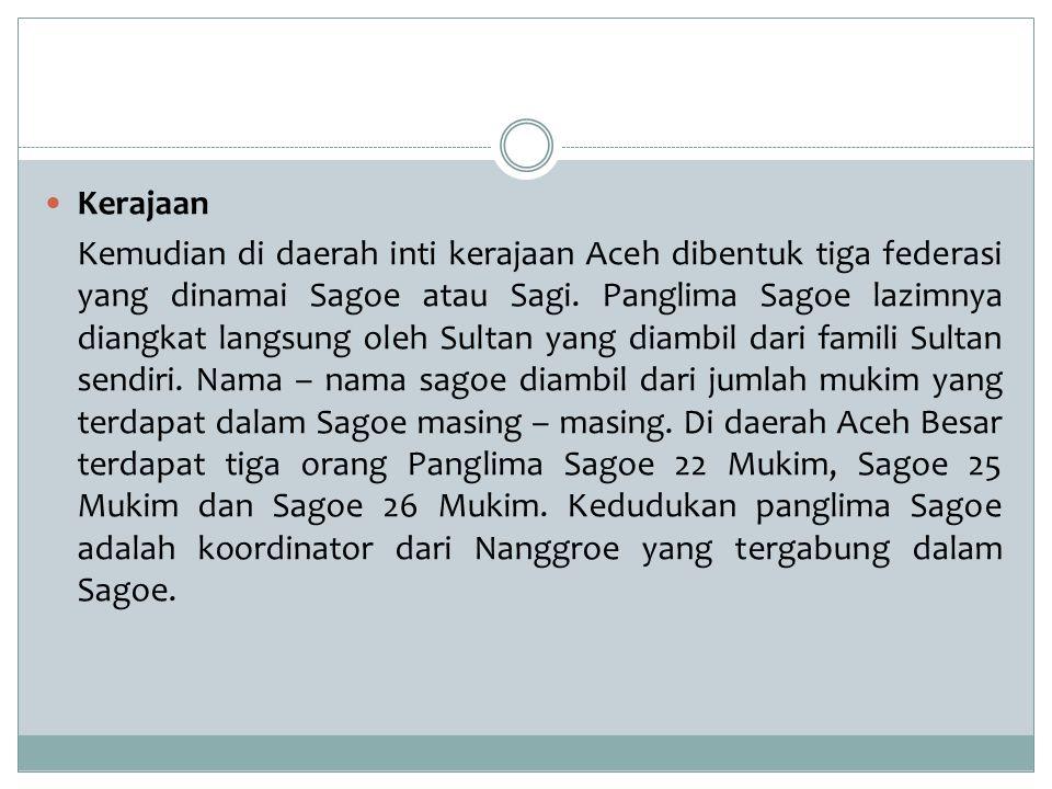 Kerajaan Kemudian di daerah inti kerajaan Aceh dibentuk tiga federasi yang dinamai Sagoe atau Sagi. Panglima Sagoe lazimnya diangkat langsung oleh Sul