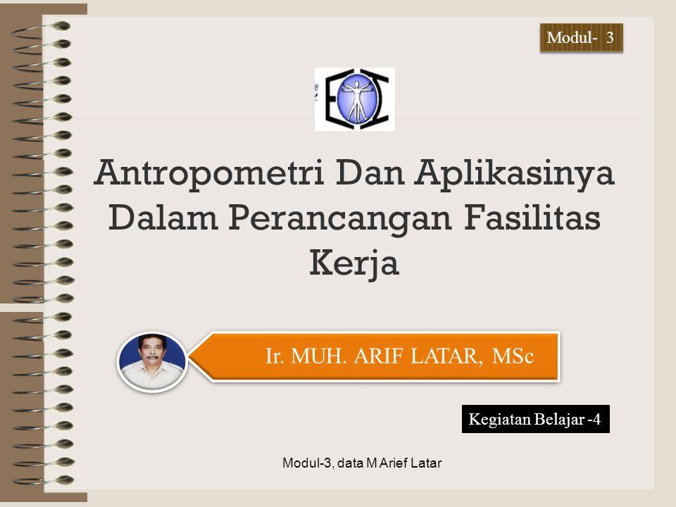 Antropometri Dan Aplikasinya Dalam Perancangan Fasilitas Kerja Modul-3, data M Arief Latar Ir. MUH. ARIF LATAR, MSc Kegiatan Belajar -4 Modul- 3