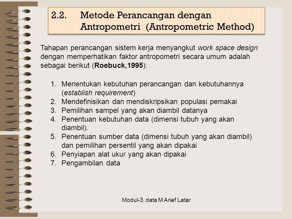 2.2.Metode Perancangan dengan Antropometri (Antropometric Method) Tahapan perancangan sistem kerja menyangkut work space design dengan memperhatikan f