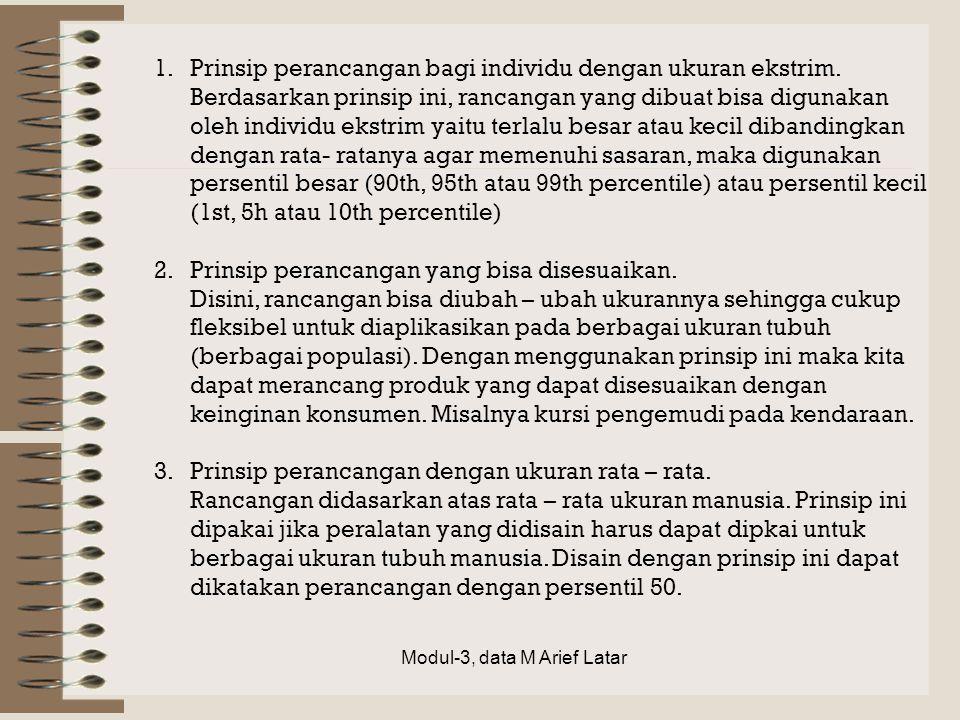 1.Prinsip perancangan bagi individu dengan ukuran ekstrim. Berdasarkan prinsip ini, rancangan yang dibuat bisa digunakan oleh individu ekstrim yaitu t