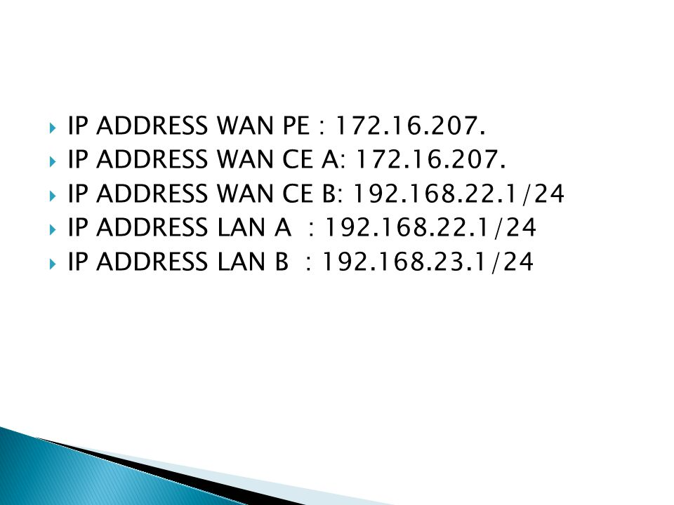  IP ADDRESS WAN PE : 172.16.207.  IP ADDRESS WAN CE A: 172.16.207.