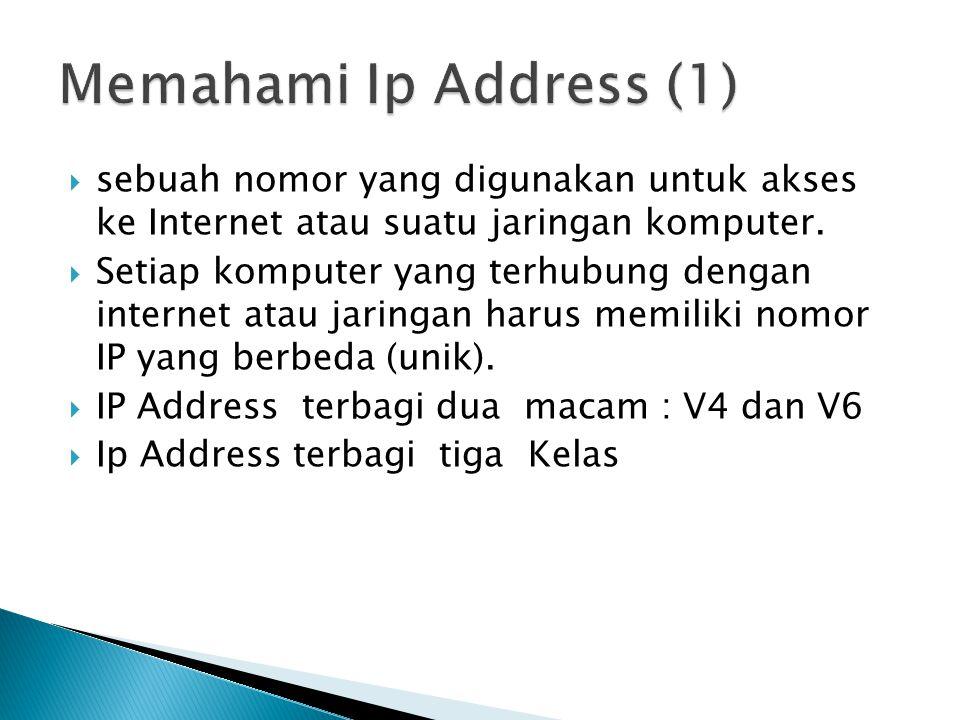 IP V4 KELAS: -Kelas A, Bentuk : yyy.xxx.xxx.xxx Range ip : 1.x.x.x – 126.x.x.x contoh Ip address: 10.0.0.1 -Kelas B, Bentuk :zzz.yyy.xxx.xxx Range ip : 128.1.x.x – 191.155.x.x contoh Ip address: 175.0.0.1 -Kelas C, Bentuk : aaa.yyy.yyy.xxx Range ip: 192.0.0.x.x – 223.255.255.x contoh : Ip address: : 192.168.1.1 Subnet mask : 255.255.255.0 atau 24 bit Network id : 192.168.1.0 yyy,zzz,aaa : network id xxx: host id IP V 6 Contoh 2001:0db8:85a3:0000:0000:8a2e:0370:7334 Bisa disingkat dengan : 2001:db8:85a3:0:0:8a2e:370:7334 atau bisa juga dengan 2001:db8:85a3::8a2e:370:7334