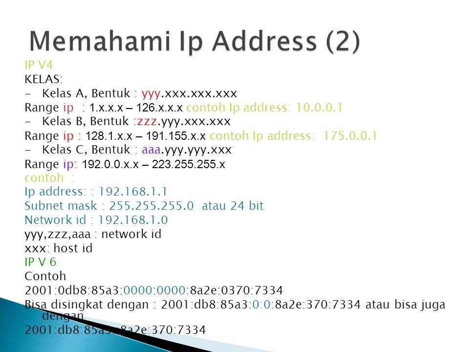 IP V4 KELAS: -Kelas A, Bentuk : yyy.xxx.xxx.xxx Range ip : 1.x.x.x – 126.x.x.x contoh Ip address: 10.0.0.1 -Kelas B, Bentuk :zzz.yyy.xxx.xxx Range ip