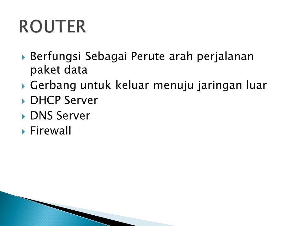  Berfungsi Sebagai Perute arah perjalanan paket data  Gerbang untuk keluar menuju jaringan luar  DHCP Server  DNS Server  Firewall