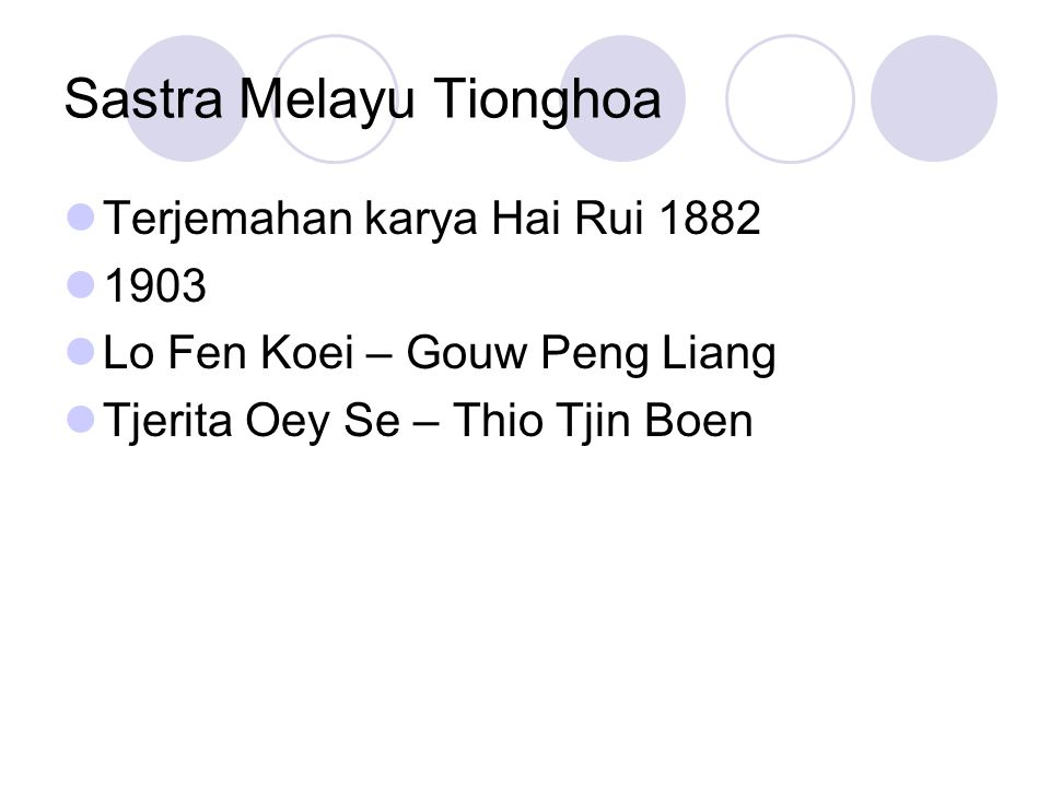 Sastra Melayu Tionghoa Terjemahan karya Hai Rui 1882 1903 Lo Fen Koei – Gouw Peng Liang Tjerita Oey Se – Thio Tjin Boen
