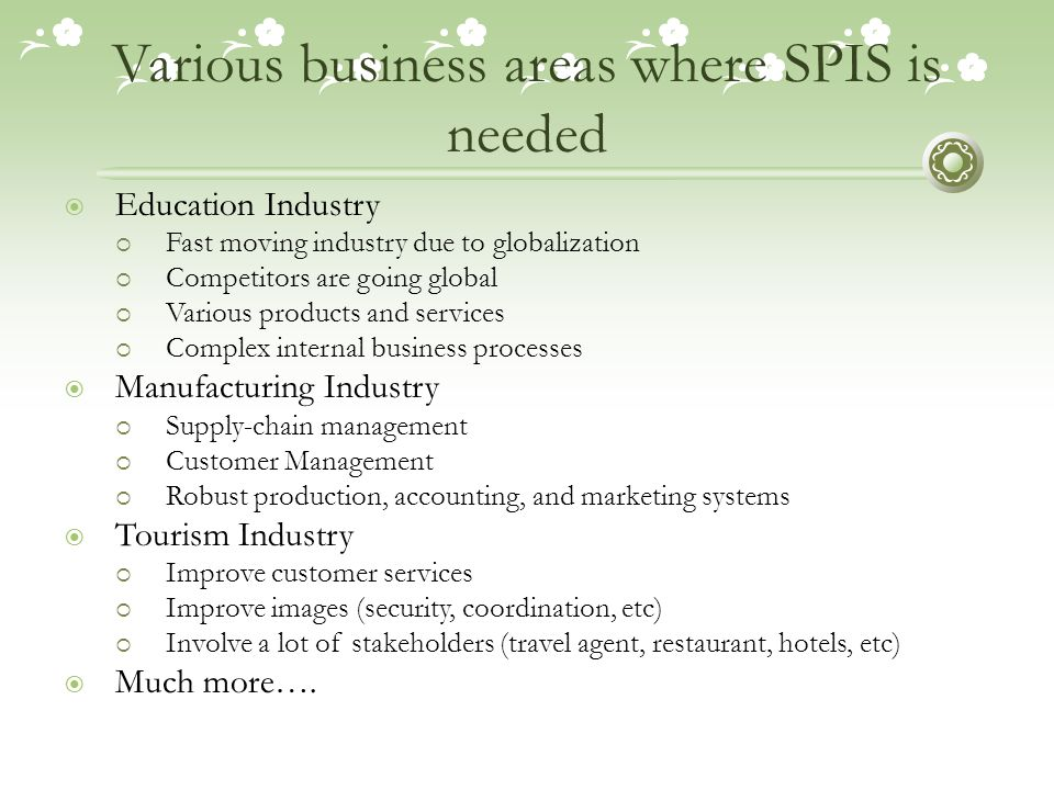 Various business areas where SPIS is needed  Education Industry  Fast moving industry due to globalization  Competitors are going global  Various products and services  Complex internal business processes  Manufacturing Industry  Supply-chain management  Customer Management  Robust production, accounting, and marketing systems  Tourism Industry  Improve customer services  Improve images (security, coordination, etc)  Involve a lot of stakeholders (travel agent, restaurant, hotels, etc)  Much more….
