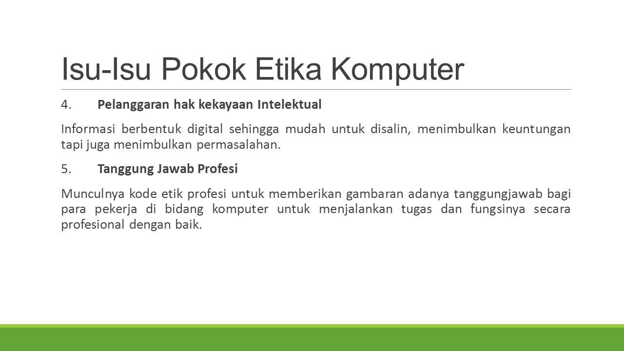 Isu-Isu Pokok Etika Komputer 4. Pelanggaran hak kekayaan Intelektual Informasi berbentuk digital sehingga mudah untuk disalin, menimbulkan keuntungan