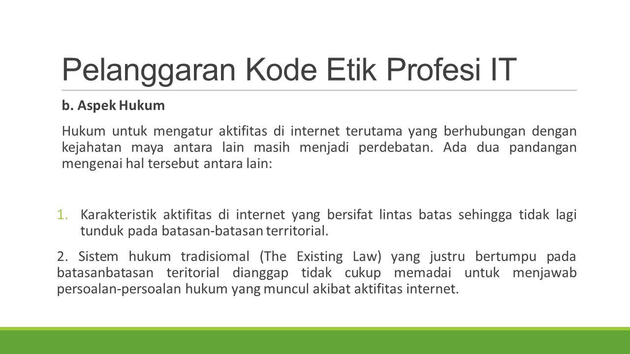 Pelanggaran Kode Etik Profesi IT b. Aspek Hukum Hukum untuk mengatur aktifitas di internet terutama yang berhubungan dengan kejahatan maya antara lain
