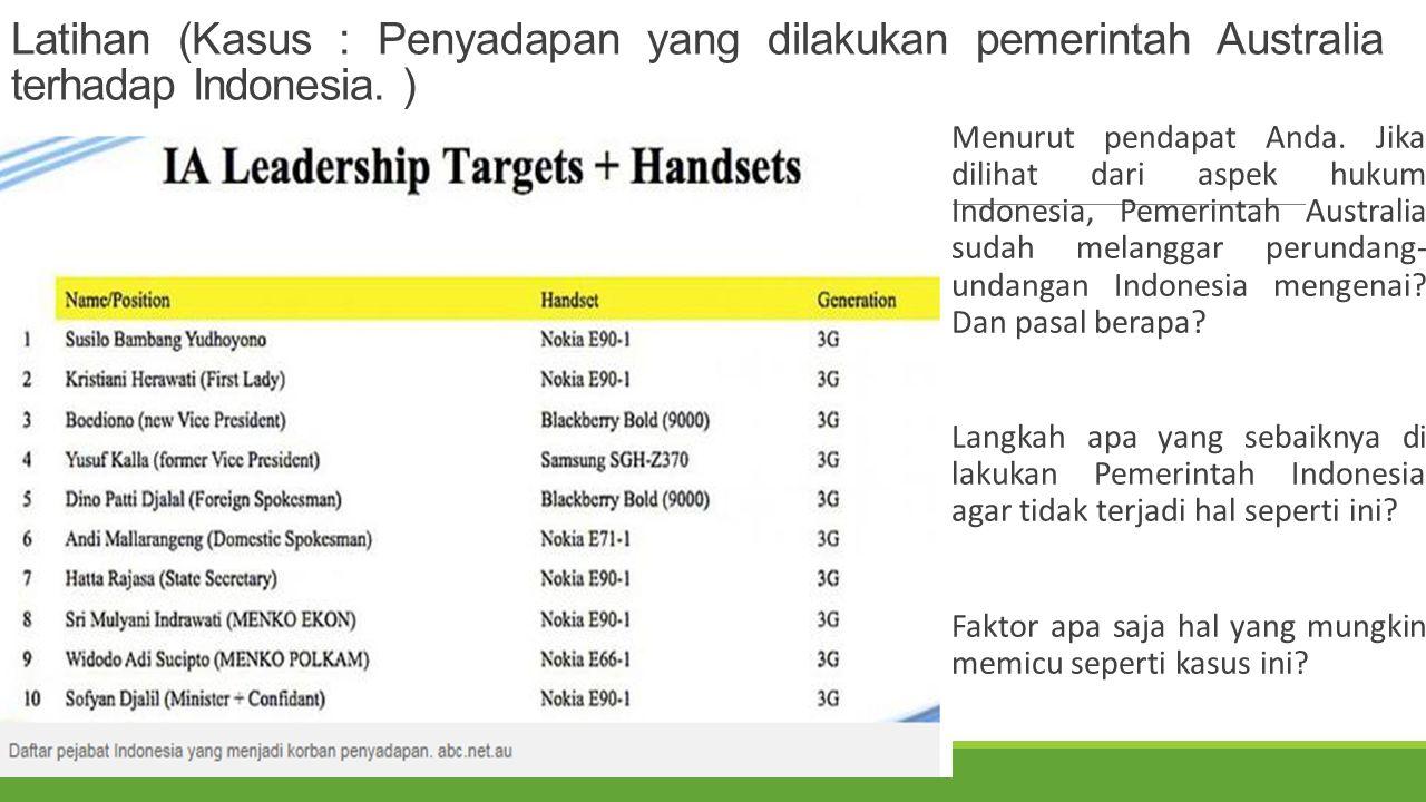 Latihan (Kasus : Penyadapan yang dilakukan pemerintah Australia terhadap Indonesia. ) Menurut pendapat Anda. Jika dilihat dari aspek hukum Indonesia,