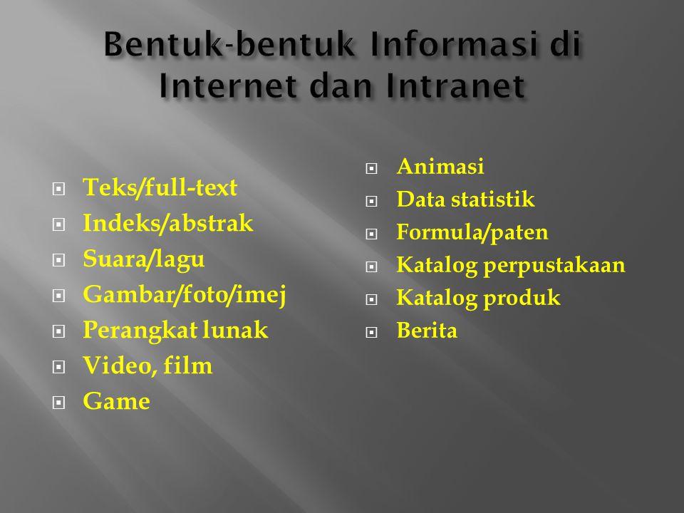  Teks/full-text  Indeks/abstrak  Suara/lagu  Gambar/foto/imej  Perangkat lunak  Video, film  Game  Animasi  Data statistik  Formula/paten  Katalog perpustakaan  Katalog produk  Berita