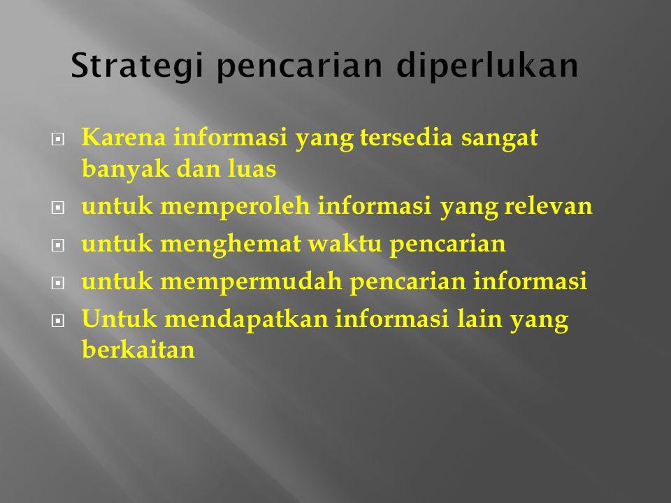  Karena informasi yang tersedia sangat banyak dan luas  untuk memperoleh informasi yang relevan  untuk menghemat waktu pencarian  untuk mempermudah pencarian informasi  Untuk mendapatkan informasi lain yang berkaitan