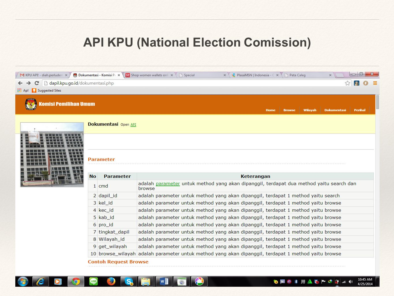 API KPU (National Election Comission) legislative voting records and bill information historically obtained this information from THOMAS which was the official legislative info site of the Library of Congress - now http://beta.congress.gov makes this info available to the public in a structured format via several APIs GovTrack.u s