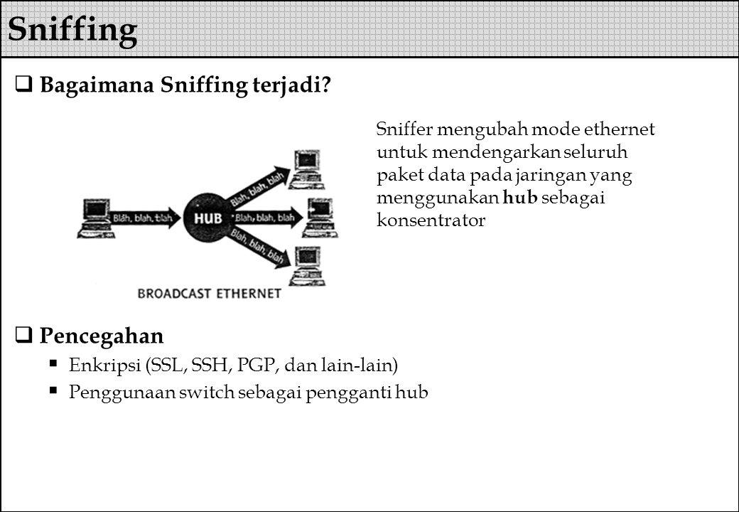  Bagaimana Sniffing terjadi?  Pencegahan  Enkripsi (SSL, SSH, PGP, dan lain-lain)  Penggunaan switch sebagai pengganti hub Sniffer mengubah mode e