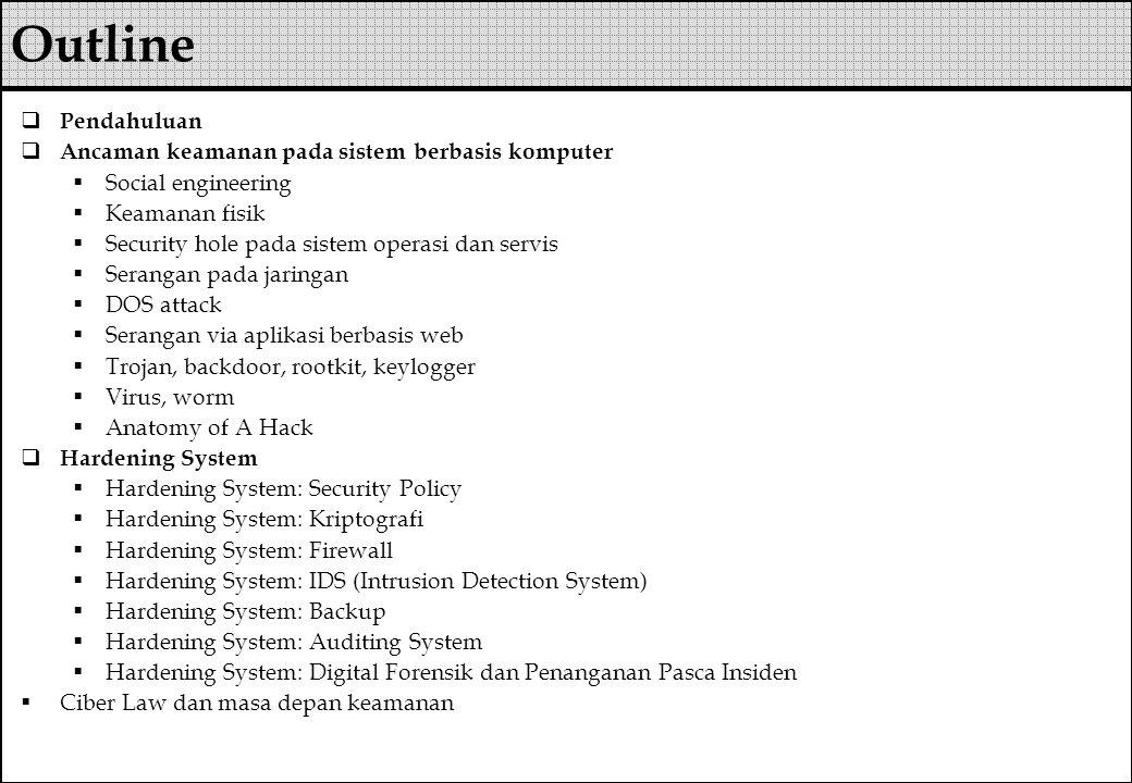  Ancaman mematikan servis secara local  Membunuh proses pada servis  Mengubah konfigurasi servis  Meng crash kan servis  Dan lain-lain  Pencegahan  Patch terbaru  Pengaturan privilege user dengan tepat  Deteksi perubahan dengan program integrity-checking DOS attack (2)