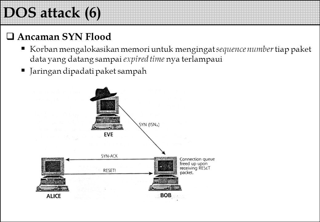  Ancaman SYN Flood  Korban mengalokasikan memori untuk mengingat sequence number tiap paket data yang datang sampai expired time nya terlampaui  Ja