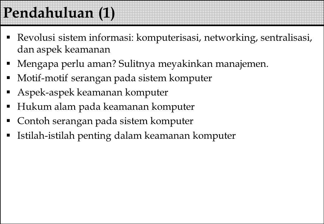  Ancaman mematikan servis secara remote  Mengirimkan malformed packet TCP/IP ke korban  Spoofing  Dan lain-lain  Pencegahan  Implementasi patch terbaru  Cegah spoofing  Dan lain-lain DOS attack (3)