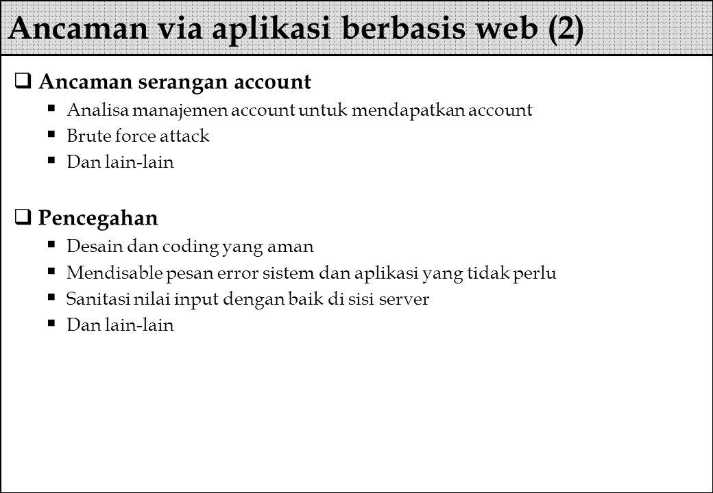  Ancaman serangan account  Analisa manajemen account untuk mendapatkan account  Brute force attack  Dan lain-lain  Pencegahan  Desain dan coding