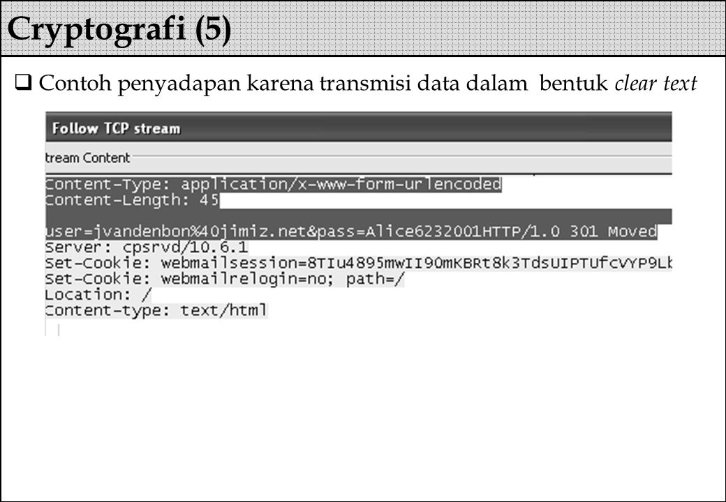  Contoh penyadapan karena transmisi data dalam bentuk clear text Cryptografi (5)