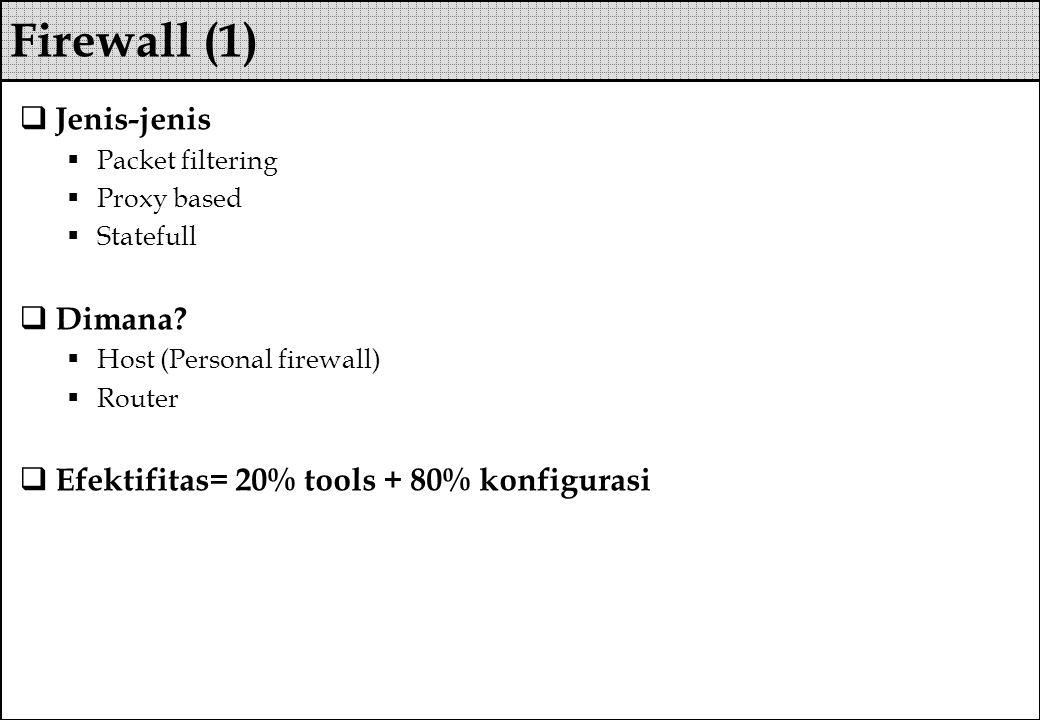  Jenis-jenis  Packet filtering  Proxy based  Statefull  Dimana?  Host (Personal firewall)  Router  Efektifitas= 20% tools + 80% konfigurasi Fi