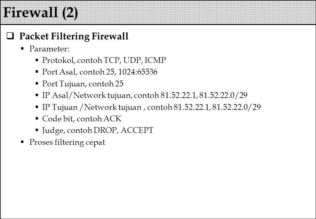  Packet Filtering Firewall  Parameter:  Protokol, contoh TCP, UDP, ICMP  Port Asal, contoh 25, 1024:65536  Port Tujuan, contoh 25  IP Asal/Netwo