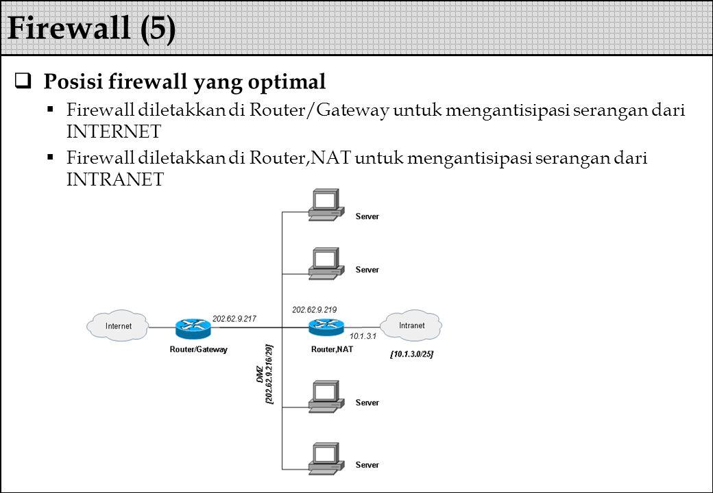  Posisi firewall yang optimal  Firewall diletakkan di Router/Gateway untuk mengantisipasi serangan dari INTERNET  Firewall diletakkan di Router,NAT