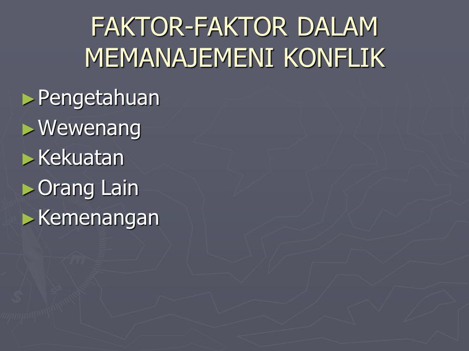 FAKTOR-FAKTOR DALAM MEMANAJEMENI KONFLIK ► Pengetahuan ► Wewenang ► Kekuatan ► Orang Lain ► Kemenangan