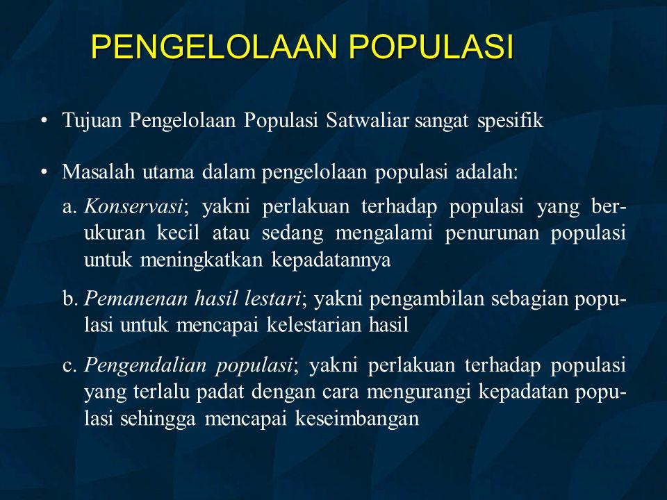 PENGELOLAAN POPULASI Tujuan Pengelolaan Populasi Satwaliar sangat spesifik Masalah utama dalam pengelolaan populasi adalah: a.Konservasi; yakni perlak