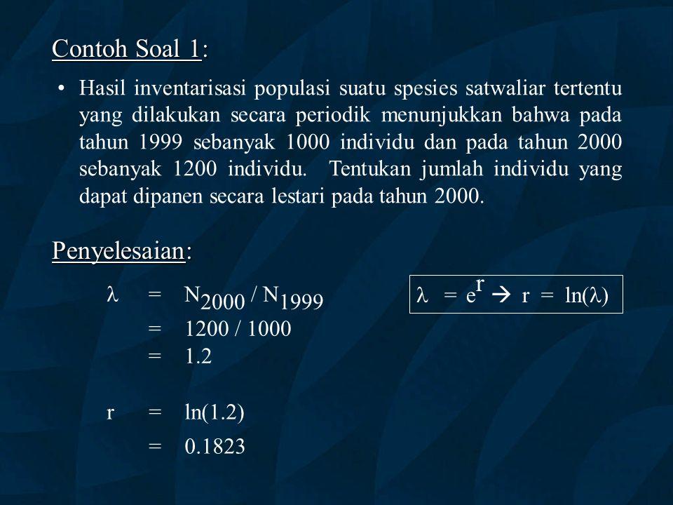 Contoh Soal 1: Hasil inventarisasi populasi suatu spesies satwaliar tertentu yang dilakukan secara periodik menunjukkan bahwa pada tahun 1999 sebanyak 1000 individu dan pada tahun 2000 sebanyak 1200 individu.