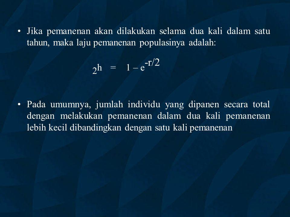Jika pemanenan akan dilakukan selama dua kali dalam satu tahun, maka laju pemanenan populasinya adalah: 2 h = 1 – e -r/2 Pada umumnya, jumlah individu yang dipanen secara total dengan melakukan pemanenan dalam dua kali pemanenan lebih kecil dibandingkan dengan satu kali pemanenan