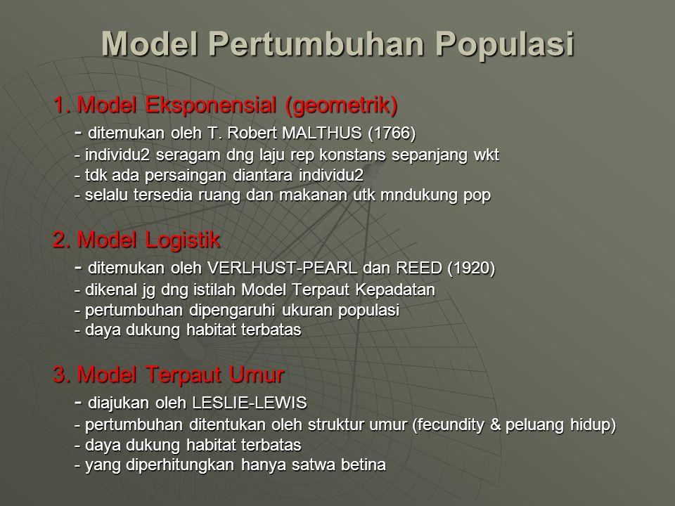 Model Pertumbuhan Populasi 1. Model Eksponensial (geometrik) - ditemukan oleh T. Robert MALTHUS (1766) - individu2 seragam dng laju rep konstans sepan