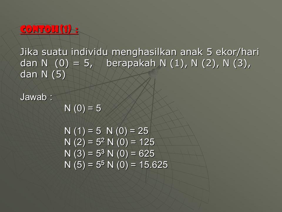 Contoh (1) : Jika suatu individu menghasilkan anak 5 ekor/hari dan N (0) = 5, berapakah N (1), N (2), N (3), dan N (5) Jawab : N (0) = 5 N (1) = 5 N (0) = 25 N (2) = 5 2 N (0) = 125 N (3) = 5 3 N (0) = 625 N (5) = 5 5 N (0) = 15.625