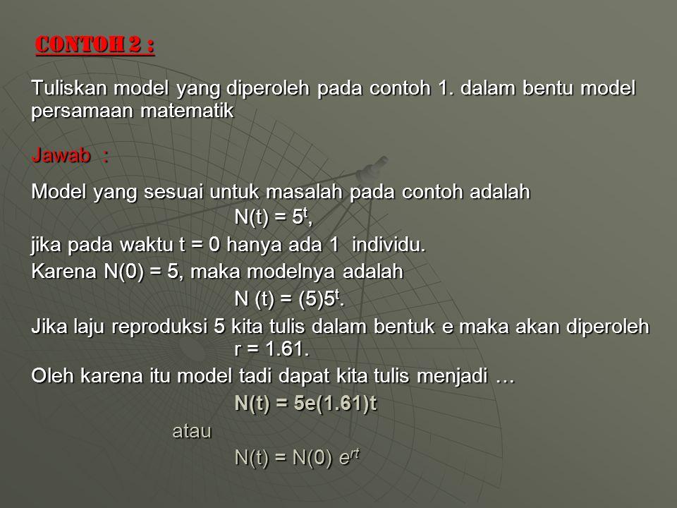 Contoh 2 : Tuliskan model yang diperoleh pada contoh 1.
