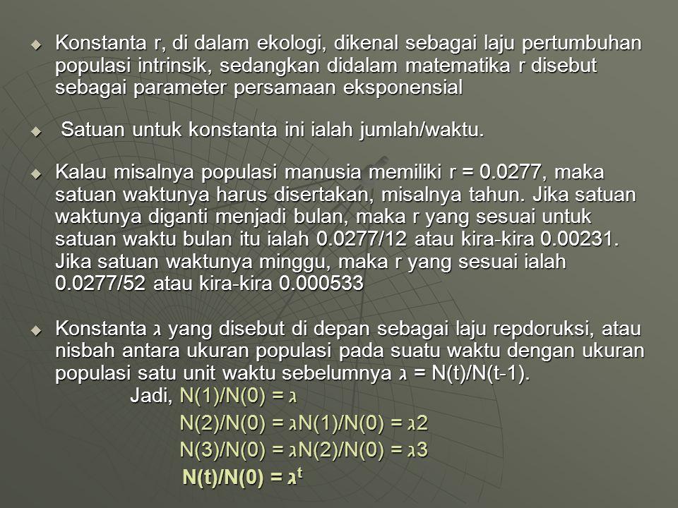  Konstanta r, di dalam ekologi, dikenal sebagai laju pertumbuhan populasi intrinsik, sedangkan didalam matematika r disebut sebagai parameter persama