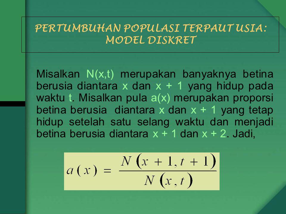 PERTUMBUHAN POPULASI TERPAUT USIA: MODEL DISKRET Misalkan N(x,t) merupakan banyaknya betina berusia diantara x dan x + 1 yang hidup pada waktu t. Misa