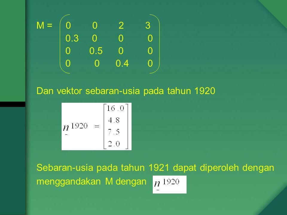M = 0 0 2 3 0.3 0 0 0 0 0.5 0 0 0 0 0.4 0 Dan vektor sebaran-usia pada tahun 1920 Sebaran-usia pada tahun 1921 dapat diperoleh dengan menggandakan M dengan