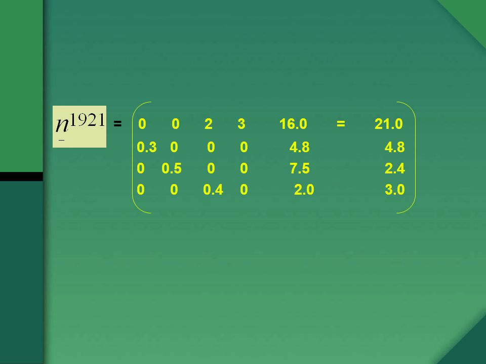 = 0 0 2 3 16.0 = 21.0 0.3 0 0 0 4.8 4.8 0 0.5 0 0 7.5 2.4 0 0 0.4 0 2.0 3.0