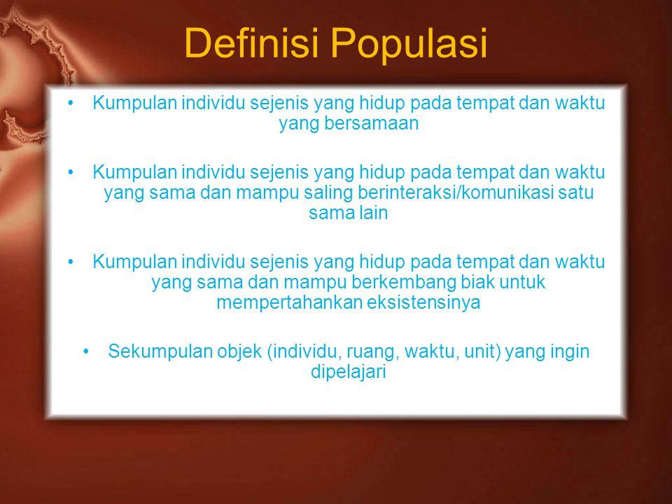 Definisi Populasi Kumpulan individu sejenis yang hidup pada tempat dan waktu yang bersamaan Kumpulan individu sejenis yang hidup pada tempat dan waktu