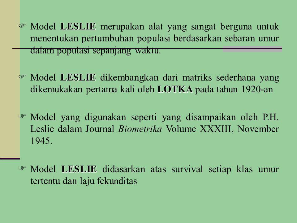 LESLIE  Model LESLIE merupakan alat yang sangat berguna untuk menentukan pertumbuhan populasi berdasarkan sebaran umur dalam populasi sepanjang waktu.