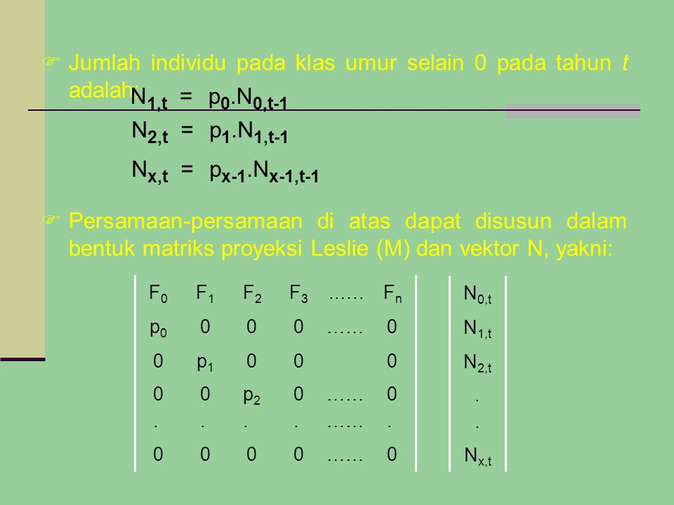  Jumlah individu pada klas umur selain 0 pada tahun t adalah: N 1,t =p 0.N 0,t-1 N 2,t =p 1.N 1,t-1 N x,t =p x-1.N x-1,t-1  Persamaan-persamaan di atas dapat disusun dalam bentuk matriks proyeksi Leslie (M) dan vektor N, yakni: N x,t....