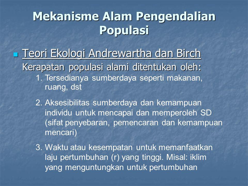 Teori Ekologi Andrewartha dan Birch Teori Ekologi Andrewartha dan Birch Kerapatan populasi alami ditentukan oleh: Mekanisme Alam Pengendalian Populasi