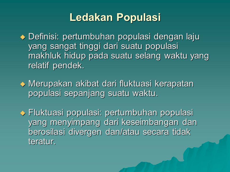  Definisi: pertumbuhan populasi dengan laju yang sangat tinggi dari suatu populasi makhluk hidup pada suatu selang waktu yang relatif pendek.
