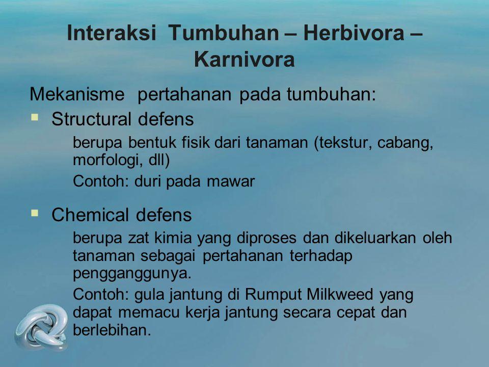 Interaksi Tumbuhan – Herbivora – Karnivora Mekanisme pertahanan pada tumbuhan:  Structural defens berupa bentuk fisik dari tanaman (tekstur, cabang,
