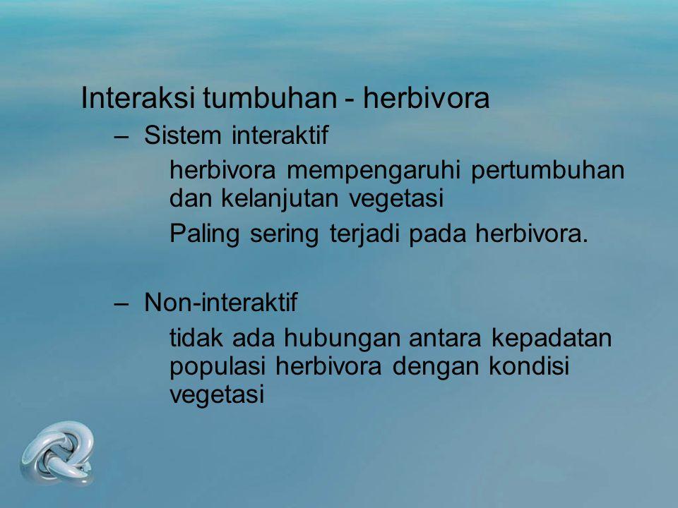 Interaksi tumbuhan - herbivora –Sistem interaktif herbivora mempengaruhi pertumbuhan dan kelanjutan vegetasi Paling sering terjadi pada herbivora. –No